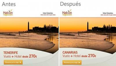 El Patronato de Turismo exige la retirada inmediata de una publicidad de Viajes Halcón que promociona Tenerife con la imagen de la playa de Maspalomas