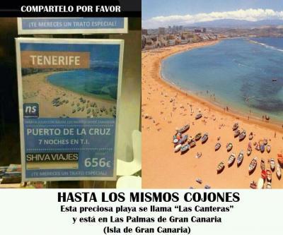 ¿Otro error?... con una foto de Las Canteras para promocionar el Puerto de la Cruz